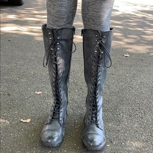 Grey tie up knee high boots with zipper